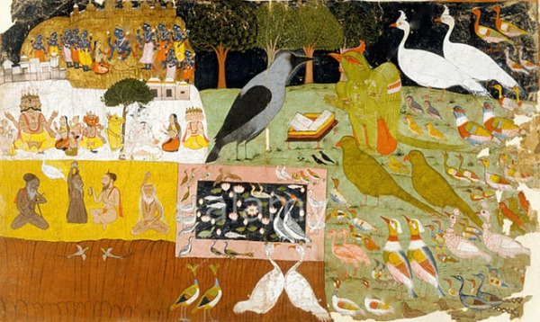 The King of Birds, Garuda, meets with Kakabhushundi the Crow-Sage in the Hindu epic Ramayana, c. 1755.