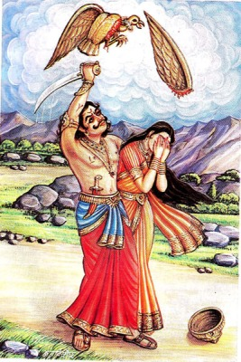 Jatayu, the vulture, tries to save Sita from the demon king, but  loses his wings.