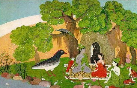"Sita and Rama meet Jatayu the vulture demigod. ""The Panchavati Hermitage,"" Circa A.D. 1780-1785 Source: http://www.goloka.com/docs/rama/rama_06.html"