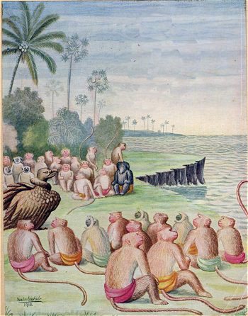 Sampati, the vulture demigod, meeting with the Vanaras in search of Sita.  Illustration by Balasaheb Pandit Pant Pratinidhi, 1916.