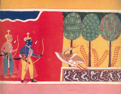 RAMA AND LAKSHMAN DISCOVER THE DYING CRANE. Illustration to the Hindu epic, the Ramayana Malwa, Central India, c. 1630. Gopi Krishna Kanoria collection, Calcutta